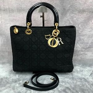 CHRISTIAN DIOR LADY DIOR LARGE BAG WITH STRAP VGC